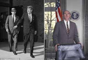 """First Friend"" Dave Powers, pictured with JFK in 1963, and alone in the Cabinet Room in 1962."