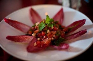 Watermelon Salad $10 Diced watermelon, arugula, feta cheese, red onion, black olive, mint, red endive, Balsamic reduction