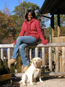 "Sip With Socialites' Victoria Gaither enjoying ""A Mountain Fantasy"" with her dog Abbey."