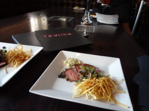 Marinated Boneless Short-Rib Skewers $11 Grilled marinated short ribs with bell peppers, red onions and teriyaki sauce served with rösti Photo By: Michele Hudson