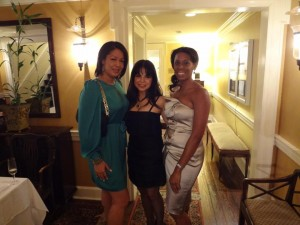 Eve in BCBG, Angelique Vélez in BCBG and I at the historical City Tavern Club in Georgetown.