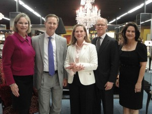 DSOL President Sharon Barbee, Wells Fargo Regional Director Mark Zacheis, Honorary Chairs Bradley and Rebecca Todd, and Derby Chair Mari Epperson at Champagne's Luxe.
