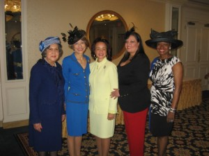 L to R:  Madeline Lawson, Tea Co-Chair; Claudia McKoin, CCC President; Glenda Newell, National Vice President; Edna Longgreen, Tea Co-Chair