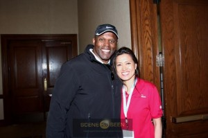 Former Redskins star and now writer for The Washington Post Kenneth Harvey with Helen at the annual Joy of Giving Golf Tournament