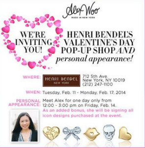 Alex Woo Personal Appearance Henri Bendel Valentine's Day Trunk Show